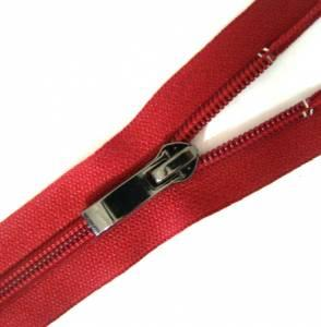 Nylon spiral zip fasteners T7 -50cm with decorative slider dark nickel - colour crimson